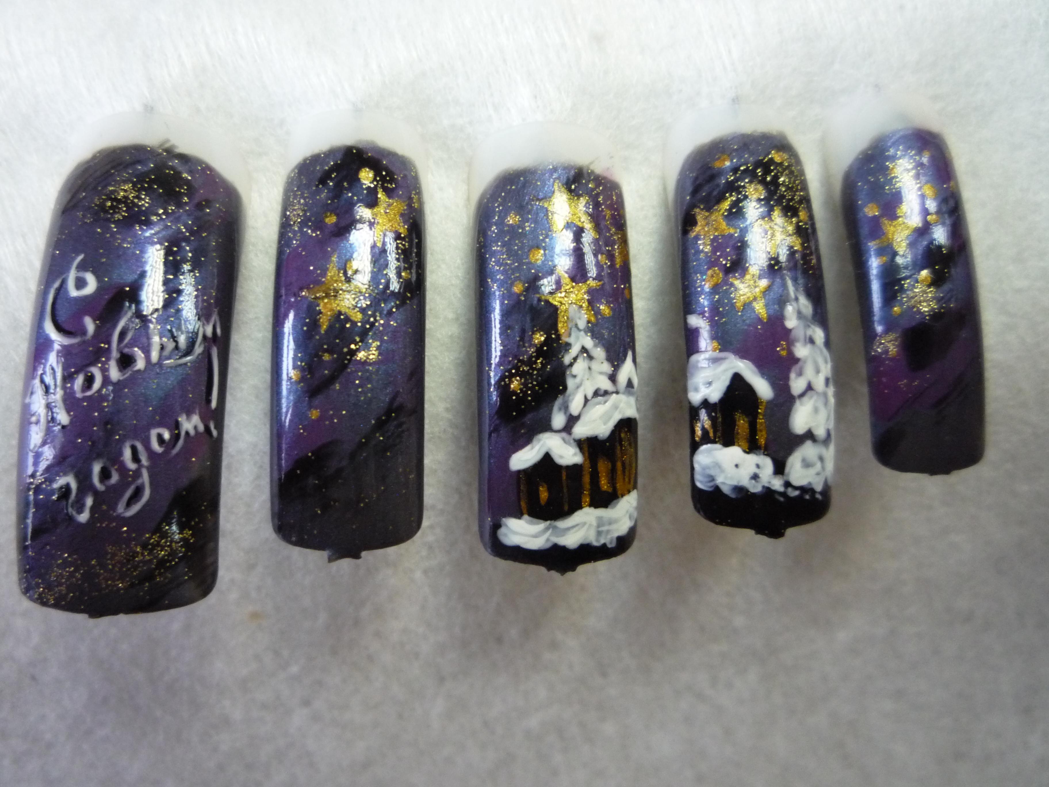 Роспись ногтей зима фото